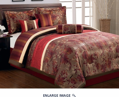 7 Piece Cal King Autumn Leaf Comforter Set