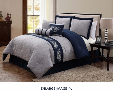 7 Piece Cal King Belmar Navy and Gray Comforter Set