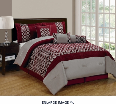 7 Piece Cal King Bradley Flocked Burgundy and Taupe Comforter Set