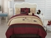 7 Piece Cal King Burgundy Embroidered Comforter Set