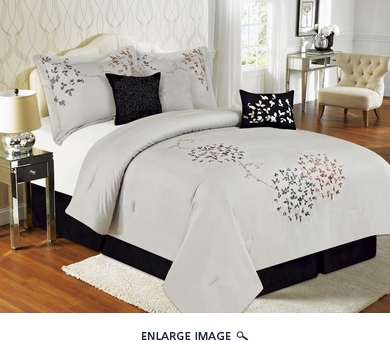 7 Piece Cal King Calantha Silver Gray Bedding Comforter Set