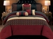 7 Piece Cal King Chenille Sqaure Burgundy Comforter Set