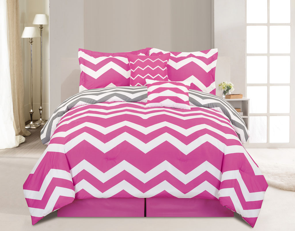 6 Piece Cal King Chevron Pink Comforter Set