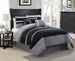 7 Piece Cal King City Loft Black and Gray Micro Suede  Comforter Set