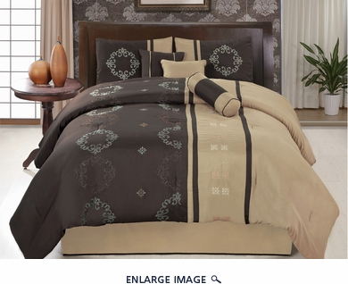 7 Piece Cal King Coffee and Taupe Floral Embroidered Comforter Set