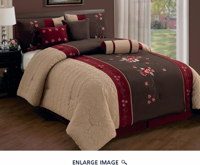 7 Piece Cal King Coffee/Burgundy/Taupe Floral Embroidered Comforter Set