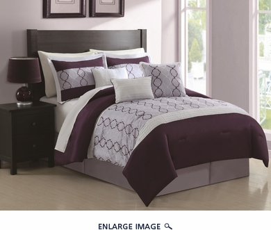 7 Piece Cal King Cole Plum and Lavender Comforter Set