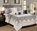 7 Piece Cal King Corak Black and Ivory Comforter Set