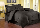 7 Piece Cal King Damask Stripe 500 Thread Count Cotton Comforter Set Black