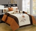 7 Piece Cal King Elora Floral Orange and Ivory Comforter Set