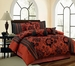 7 Piece Cal King Jayda Burguandy and Black Comforter Set