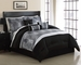 7 Piece Cal King Kellen Black and Gray Jacquard Comforter Set