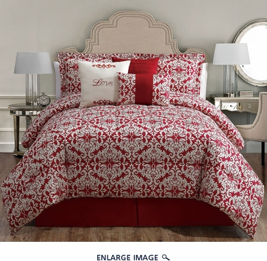 7 Piece Cal King Love Print Comforter Set