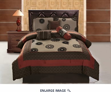 7 Piece Cal King Medallion Brick and Coffee Applique Comforter Set