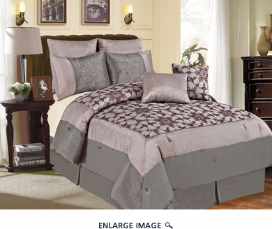 7 Piece Cal King Megellan Gray and Purple Comforter Set