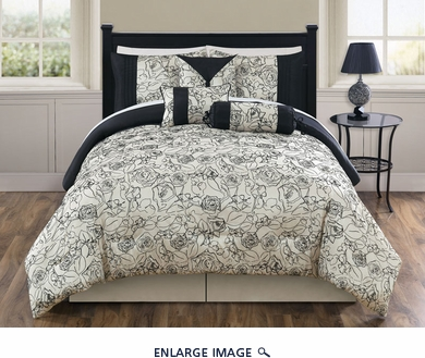 7 Piece Cal King Miranda Black and Ivory Comforter Set