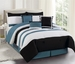 7 Piece Cal King Olivier Black and Slate Comforter Set