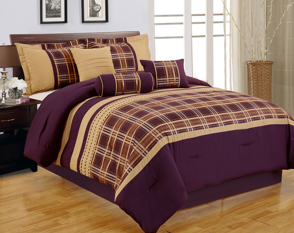 7-piece-cal-king-purple-and- ...