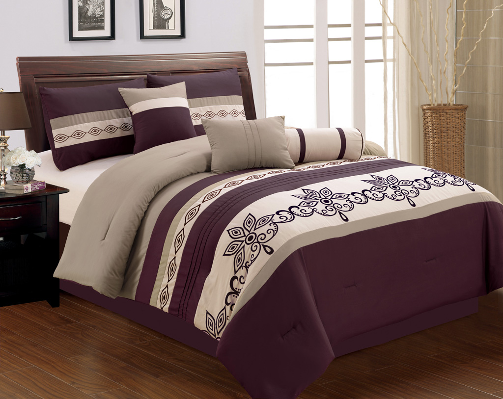 Size bedding sets queen bedding set purple and gray comforter sets