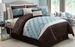 7 Piece Cal King Regina Spa Blue and Chocolate Comforter Set