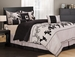 7 Piece Cal King Rene Black and Beige Comforter Set