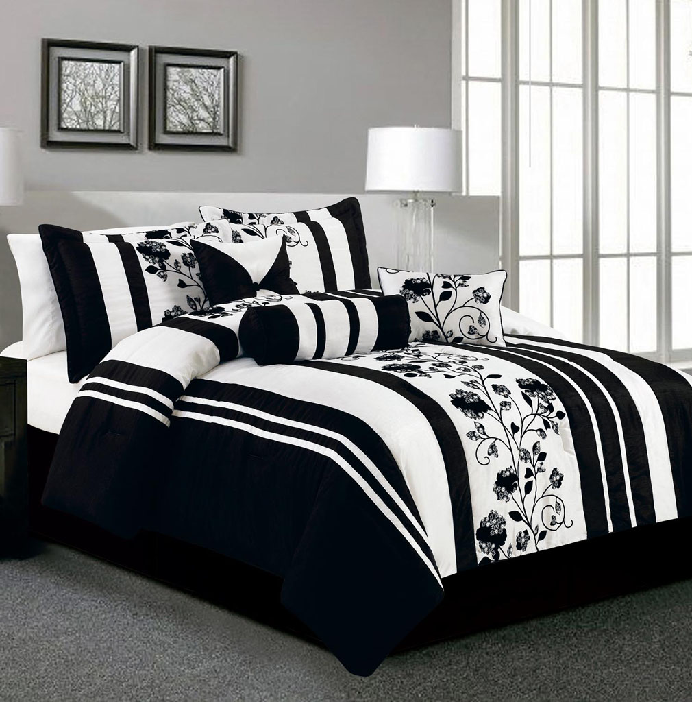 Black and white bedding set pictures to pin on pinterest - White and black comforter sets ...