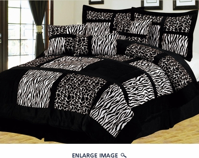 7 Piece Cal King Safari Black and White Patchwork Micro Suede Comforter Set