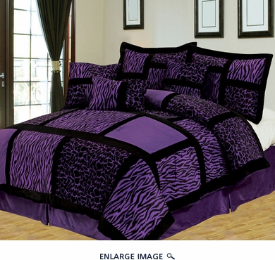 7 Piece Cal King Safari Purple and Black Patchwork Micro Suede Comforter Set