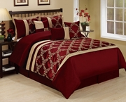 7 Piece Claremont Burgundy/Gold Comforter Set