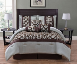 7 Piece Connor Sage/Chocolate Flocking Comforter Set