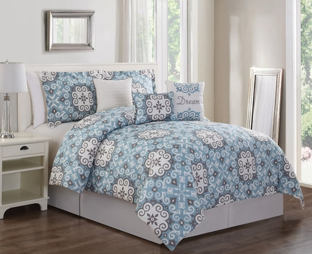 7 Piece Dream Blue/Taupe Comforter Set