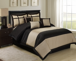 7 Piece Dublin Black/Gold Comforter Set