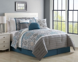 7 Piece Eloise Teal Reversible Comforter Set