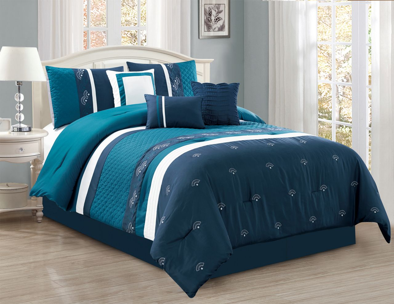 7 Piece Embroidered Fan Navy/Teal/White Comforter Set