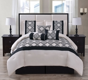 7 Piece Emma Ivory/Black Flocking Comforter Set