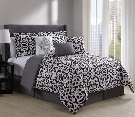 7 Piece Fara Black/White Comforter Set