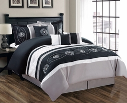 7 Piece Floral Embroidered Black/Gray/White Comforter Set