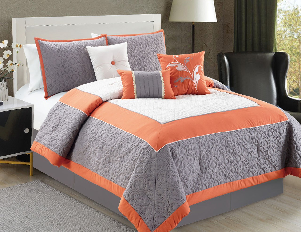 The gallery for orange and gray bedding - Orange and grey comforter ...