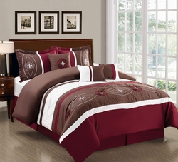 7 Piece Floral Embroidered Burgundy/Chocolate/White Comforter Set