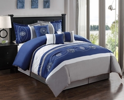 7 Piece Floral Embroidered Navy/Gray/White Comforter Set