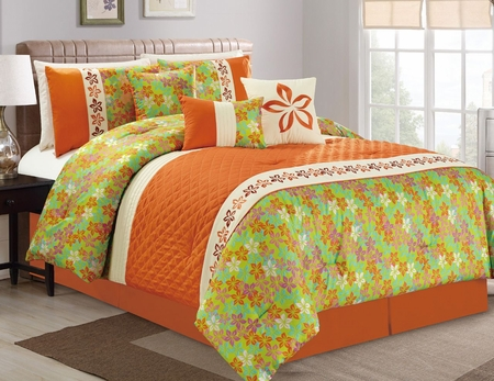 7 Piece Floral Quilted Orange/Lime/Teal Comforter Set