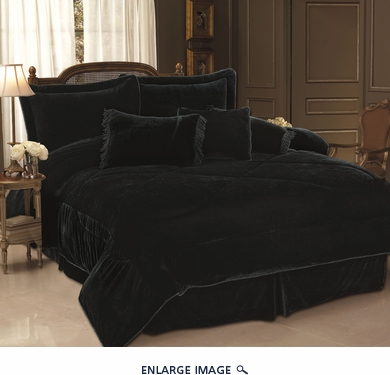 7 Piece Full Black Velvet Comforter Set