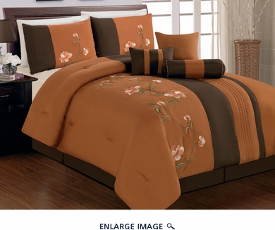 7 Piece Full Coffee and Orange Floral Embroidered Comforter Set