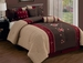 7 Piece Full Coffee/Burgundy/Taupe Floral Embroidered Comforter Set