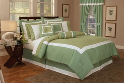 7 Piece Full Hotel Collection Block Duvet Cover Set Sage