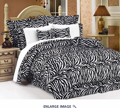 7 Piece Full Zebra Animal Kingdom Bedding Comforter Set