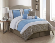 7 Piece Georgina Blue/White/Taupe Comforter Set