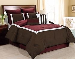 8 Piece Giornali Burgundy/Coffee Comforter Set
