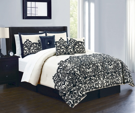 7 Piece Julianna Champagne/Black Comforter Set
