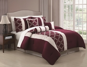 7 Piece Julius Oxblood/Ivory Embroidered Comforter Set